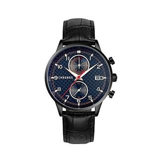 Chronos Hombre Negro Con Reloj Cronografo De Cuarzo Analogic