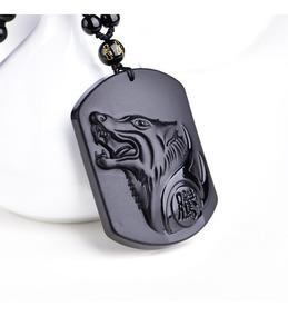 Colar Cabeça Lobo Corrente Pingente Pedra Obsidiana- Sorte