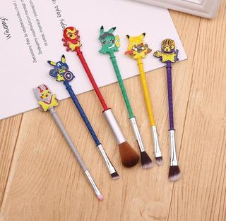 Brocha Para Maquillaje Diseño Pikachu Set 6 Brochas Pokemon