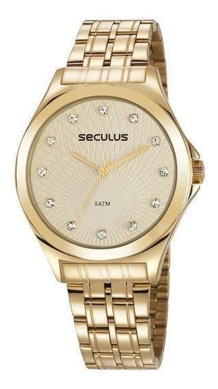 Relógio Seculus Feminino Analógico Dourado 23630lpsvds1