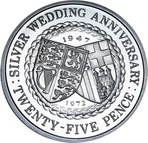 .: Isla De Man 25 Pence 1972 - Silver Wedding Plata Proof :.