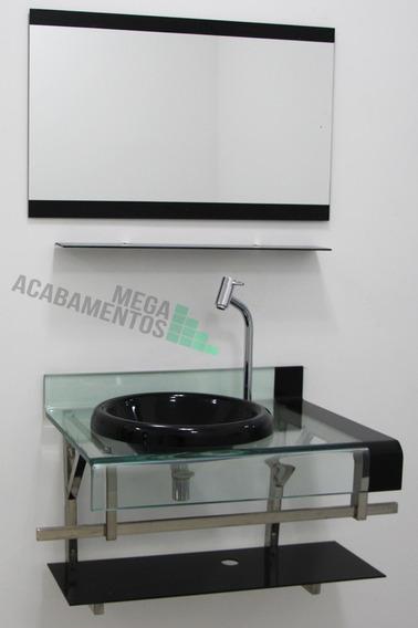 Gabinete De Vidro Preto 90cm+torneira Link+válvula+sifão