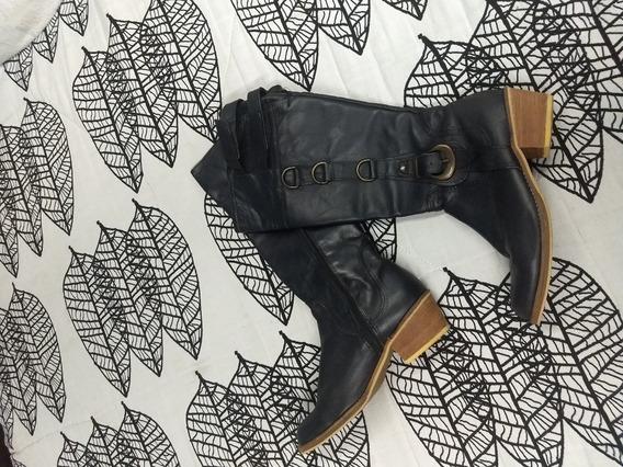 Botas Negras De Cuero Caña Alta Impecables 39 Lucerna