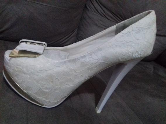 Sapato Meia Pata Renda Branco Para Noiva Ou Debutantes