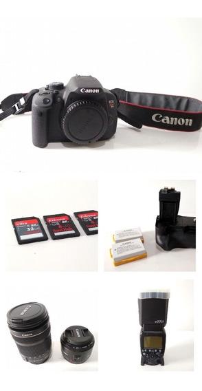 Câmera Canon Rebel T5i + Lente 18-135mm + Lente 50mm