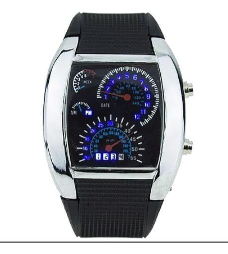 Relógio Digital Velocímetro Led Prata/cromado