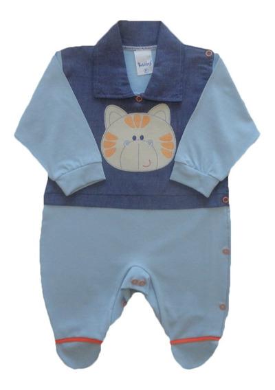 Macacão Bebê Menino Com Bordado E Gola 100% Algodão