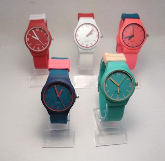 Relógio Feminino E Masculino Varias Cores + Caixa Barato