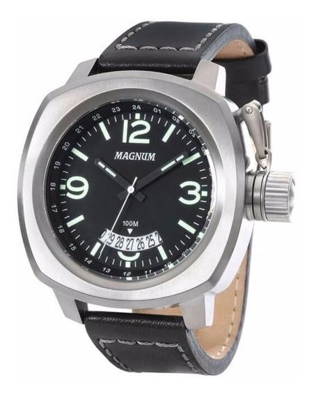 Relógio Magnum Masculino Ma34138p Aco Couro Preto