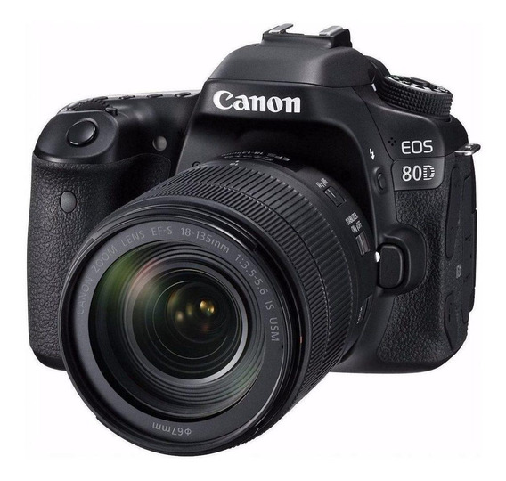 Canon EOS 80D 18-135mm IS USM Kit DSLR cor preto