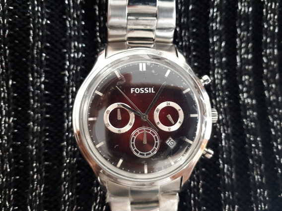 Relógio Masculino Original Fossil Prata Vermelho Rubi Em Aço