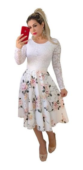 Vestido Midi De Noiva Godê Casamento Civil Com Cinto Brinde
