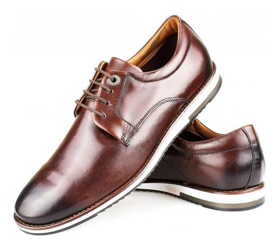 Sapato Masculino Derby Casual Em Couro Café Marrom