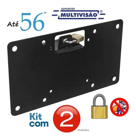 Suporte C/ Trava Antifurto P/ Tv 14-56 Multivisão - Kit C/2