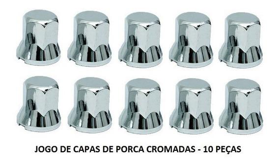 Capa De Porca Cromada Chave 33 - Kit Com 10 Peças