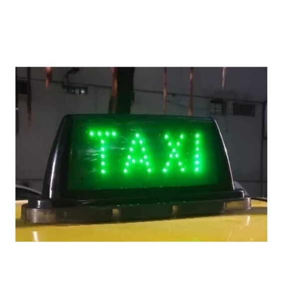 Luminoso De Taxi Led C/ Imã Black Taxi Led Verde Alto Brilho