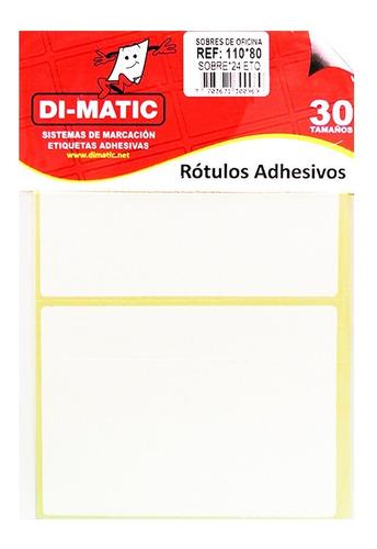 Imagen 1 de 4 de Rotulo Adhesivo Rectángulo Grande Blanco Ref 110x80 Dimatic.