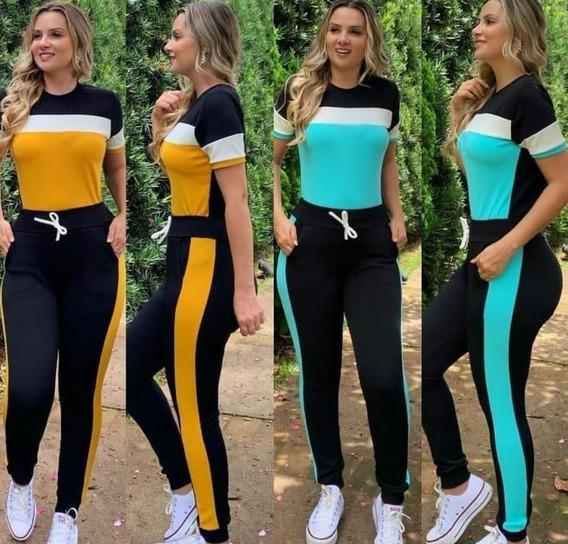 Conjunto Calça E Blusa Roupa Feminina Crepe Promoção Só Hoje