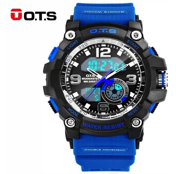 Reloj Deportivo Azul Casual Hombre Ots Original Acuático