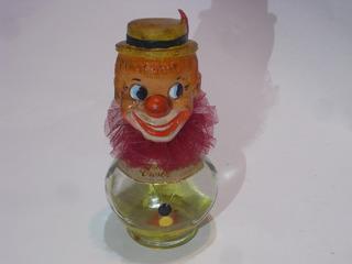 Antiguo Muñeco Payaso Cabeza Goma Cuerpo De Vidrio Perfume