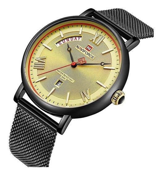 Relógio Masculino Original Naviforce Dourado Luxo Esportivo