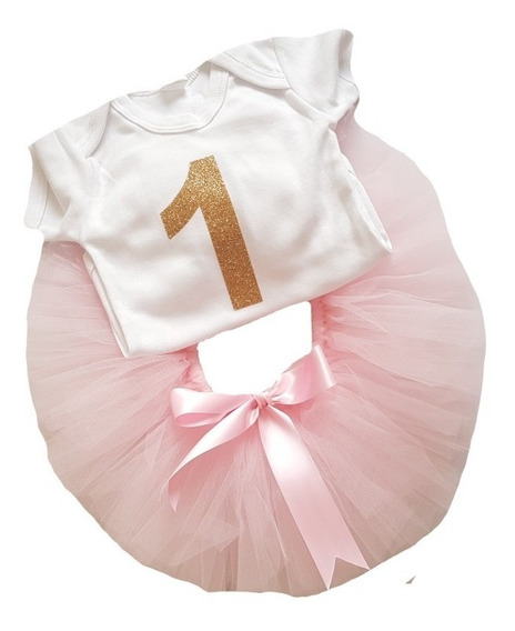 Conjunto Tutu Bebé Pañalero 1 Año Disfraz Vestido Falda Tul