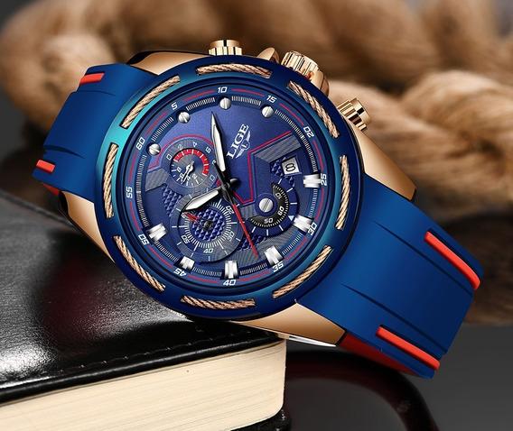 Relógio Pulso Luxo Silicone Aço Adulto Masculino Azul Lige