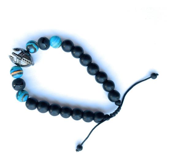 Pulsera De Piedras Azul Casco