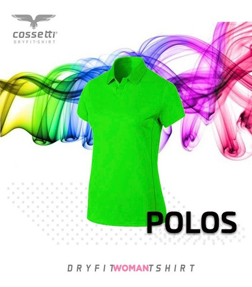 Playera Tipo Polo Cossetti Manga Corta Dry Fit Colores Neón