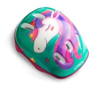 Kit De Proteção Bike Infantil Atrio Unicorn Com Capacete