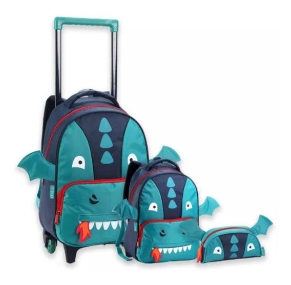 Kit Escolar Mochila Infantil Masculino Dragão Monster Novo