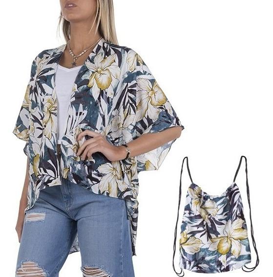 Kimono Playero Diferentes Diseños Con Mochilita Premium