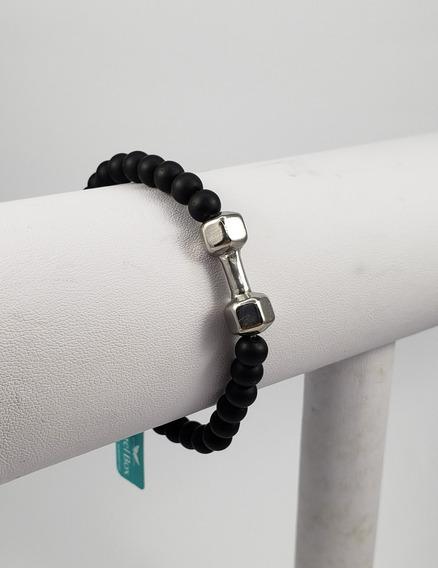 Pulseira Bracelete Masculina Bolinhas Pretas 6mm E Haltere