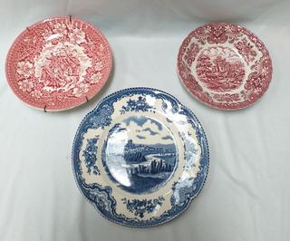 Lote De 3 Platos Antiguos Ingleses Royal Tudor Johnson Bros