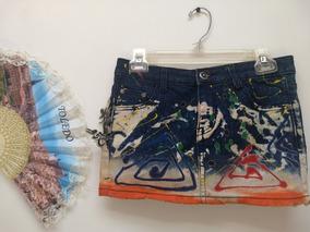 Falda De Jean Corta Talla S Para Mujer Azul Con Naranjado
