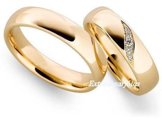 Par De Aliança Ouro Amarelo 18k/750 !e Diamantes.