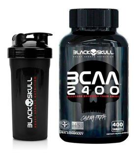 Bcaa 2400/ 400 Tabletes + Coqueteleira (brinde)- Black Skull