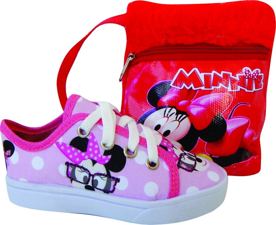 Tênis Feminino Minnie L15 Infantil Menina Barato + Bolsa