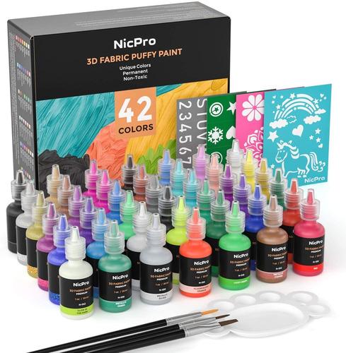 Nicpro - Juego De Pintura 3d Para Tela, 42 Colores, Con 3 Pi