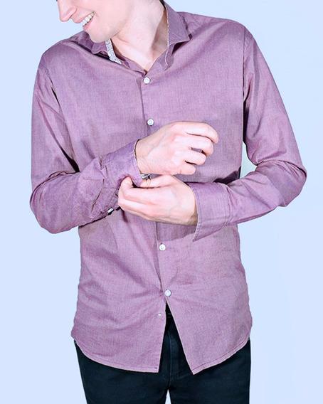 Camisas Hombre Lisa Uva Fil A Fil Manga Larga Élbeton