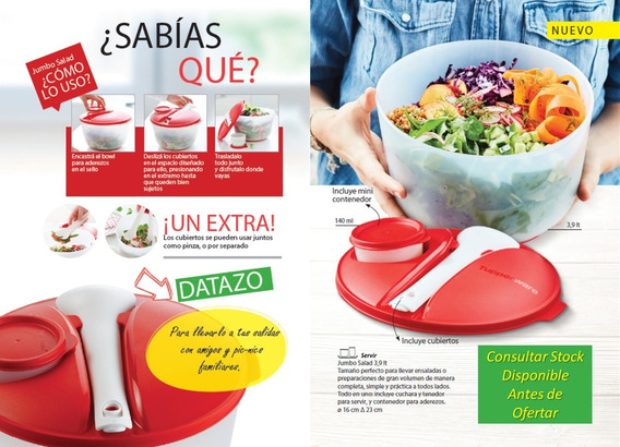 Ensaladera 3,9 Lt Con Utensilios Jumbo Salad De Tupperware