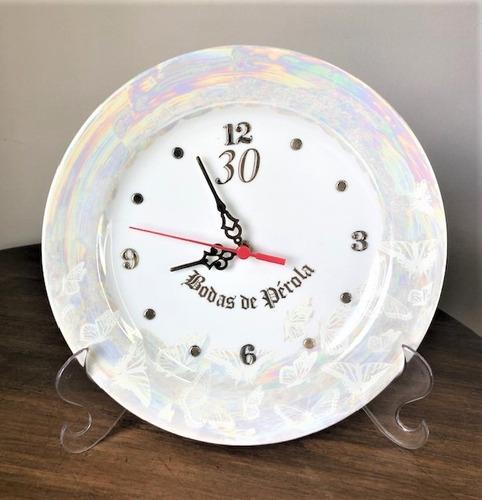 Imagem 1 de 4 de Relógio Bodas De Perola 30 Anos De Casamento 25cm