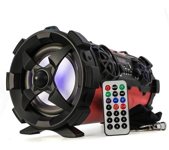 Caixa De Som Bluetooth 30w De Potência Entrada Para Microfone Sd E Usb, Portátil, Amplificada Com Leds E Rádio Fm D-p4