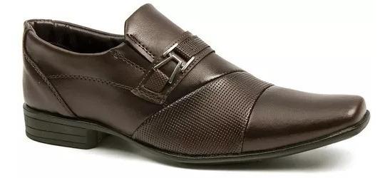 Sapato Social Masculino Salazari Couro Com Cinto E Carteira
