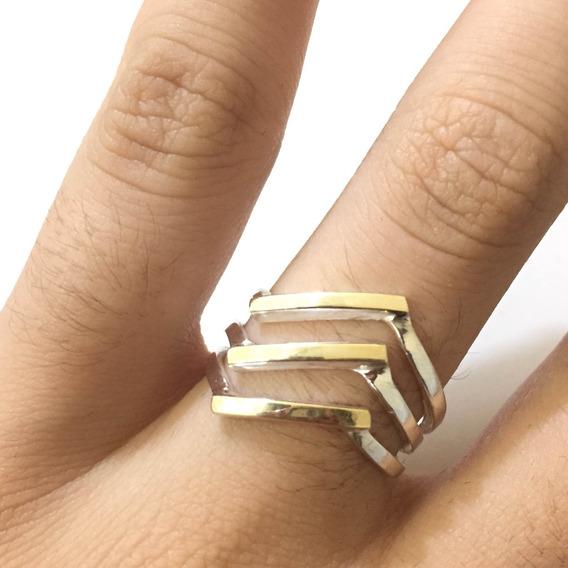Anel Feminino Com Filete De Ouro E Prata De Lei A-1205