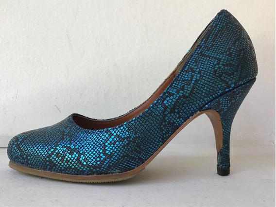 Zapatos Stilettos Azul Turquesa De Cuero Reptil Nuevos