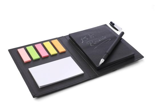 Cuaderno Anotador Con Hojas Negras Y Bolígrafo Tinta Blanca
