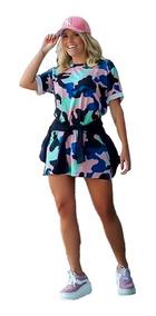 Blusao Camisão Feminino Vestido Curto Colorido Moda Roupa