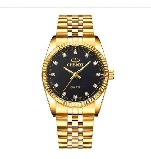 Relógio Chenxi Marca Original Dourado Preto Aço Homem Social