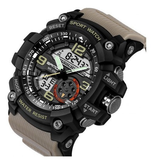 Relógio Sanda 740 - Army Oyster Militar - Estilo Mudmaster